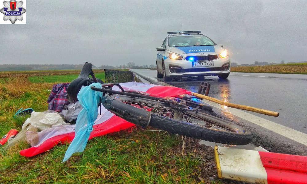 Potrącony rowerzysta nie miał wymaganego oświetlenia. Fot. Policja