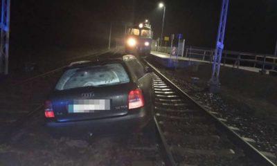 Pijany kierowca zasnął na przejeździe kolejowym w Starej Wsi Fot. Policja