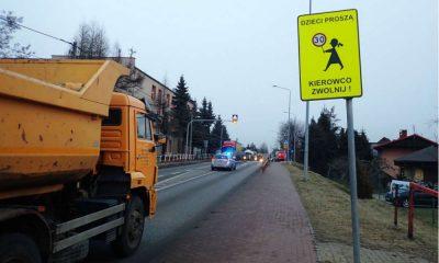 Przejście dla pieszych przy SP nr 8 w Rybniku jest dodatkowo specjalnie oznakowane, przedzielone azylem i doświetlone. Fot. Policja