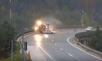 Wypadek na obwodnicy Lublany Źródło: YouTube