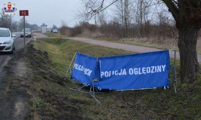Ciało pieszej znaleziono przy drodze w Brzeźnie. Fot. Policja