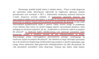 Fragment rządowej opinii do projektu posłów Koalicji Obywatelskiej