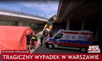 Wypadek autobusu miejskiego w Warszawie Źródło: TVP Info