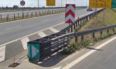 Poduszka zderzeniowa na rozjeździe na trasie S2 na węźle Opacz. Źródło: Google Maps