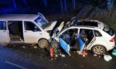5 stycznia 2020 r. na drodze B2 w Niemczech 19-letni kierowca busa wjechał w polską rodzinę. Zginęła matka i troje jej dzieci Fot. Feuerwehr Georgensgmuend