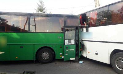 Zderzenie dwóch autobusów w Pankach. Fot. Policja