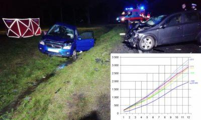 Śmiertelny wypadek na drodze krajowej nr 70, 1 września 2020 r. Fot. Policja