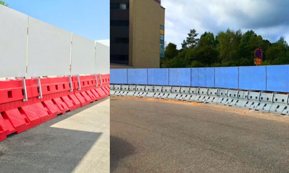Polskie bariery betonowe Sofibox w Helsinkach (po lewej) i Turku (po prawej) w Finlandii Fot. mat. prasowe