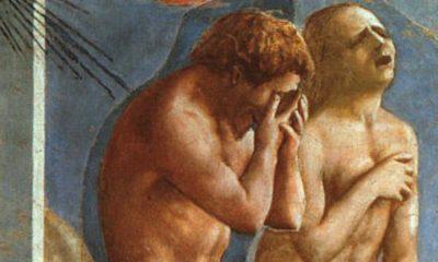 """Fragment obrazu """"Wygnanie z raju"""" Masaccio"""