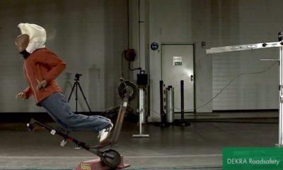 Test DEKRA - upadek na hulajnodze z airbagiem dla użytkowników jednośladów. Źródło: YouTube/DEKRA