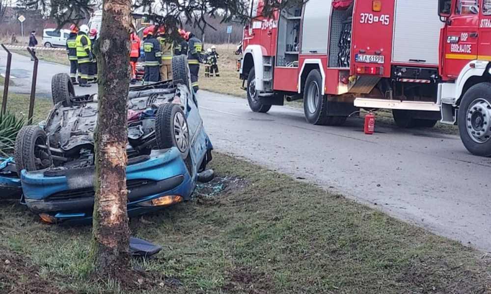 W Gosławicach (Małopolska) 4-letni chłopiec wypadł z samochodu po tym, jak jego mama wjechała w drzewo Fot. Policja