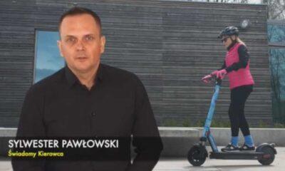 Sylwester Pawłowski w projekcie Świadomy Kierowca stworzył spot tłumaczący nowe zasady poruszania się m.in. na hulajnogach elektrycznych Fot. Świadomy Kierowca