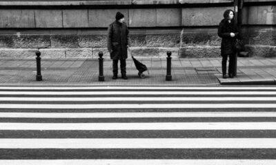 Pieszy czekający na wejście na przejście dla pieszych Fot. Nikos Koutoulas/Flickr/CC BY 2.0