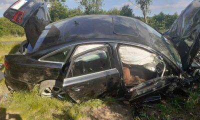 Audi, którym Dominik H. spowodował śmiertelny wypadek Fot. KP PSP Zgorzelec