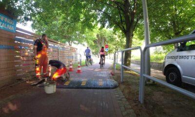 Próg zwalniający na drodze dla rowerów w Sopocie. Źródło: Facebook/3miejski rowerzysta