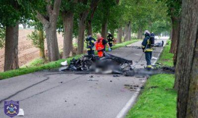 Wypadek na trasie Mrągowo - Giżycko Źródło: Facebook/OSPMikolajki