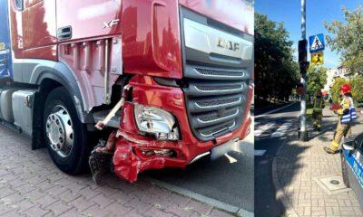 Pijany kierowca ciężarówki przerwał bariery i wpadł na chodnik przy szkole w Rudzie Śląskiej Fot. Policja
