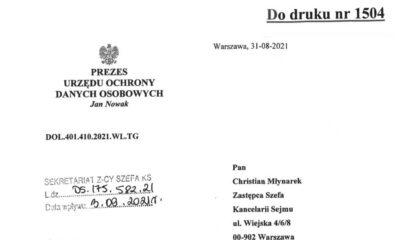 Pismo PUODO z uwagami do rządowego projektu nowelizacji kar dla kierowców Źródło: Sejm